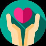 Zwei Hände halten Herz Icon